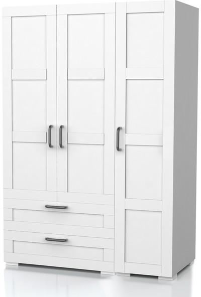 Dekorex MNT-317-BEYAZ -Üç Kapaklı Iki Çekmeceli Gardırop
