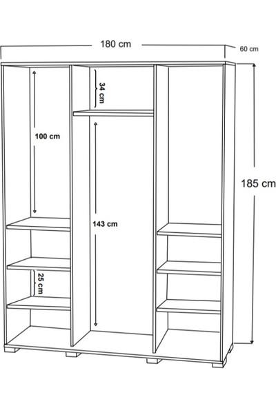 Dekorex SRG-208-BEYAZ -Sürgü Üç Kapaklı Aynalı Gardırop