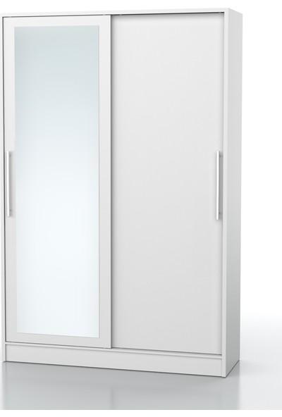 Dekorex PRT-101-BEYAZ -Sürgü Kapaklı Aynalı Portmanto