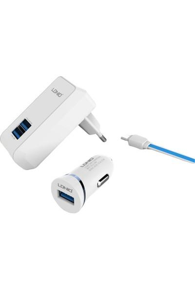 Ldnıo S100 Çift USB Girişili Şarj Cihazı + Araç Şarj Cihazı