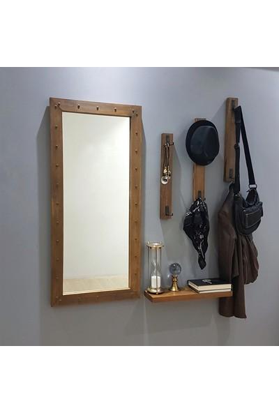 NEOstill - Boy Aynalı Portmanto Vestiyer Askılık Masif Ahşap V106