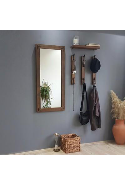 NEOstill - Boy Aynalı Portmanto Vestiyer Askılık Masif Ahşap V109