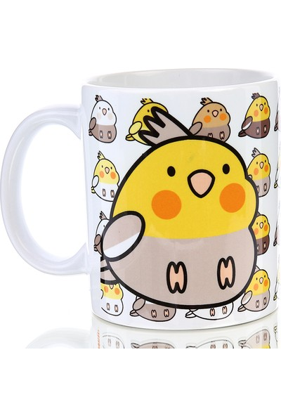 Kuş Arkadaşım Sultan Papağanı Kupa Arkası Desenli Sarı - Açık Gri