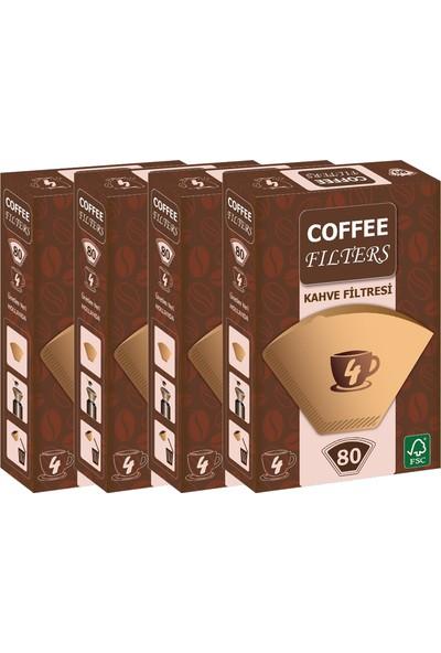 Coffee Filters Filtre Kahve Kağıdı No:4 80'li @ 4 Paket