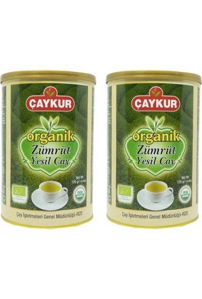 Çaykur Organik Zümrüt Yeşil Çay 125 gr 2 Adet