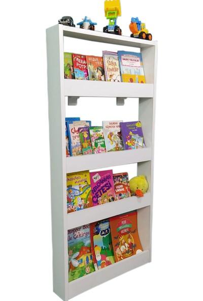 Emdief Home - Montessori Kitaplık 4 Raflı - Çocuk Odası Kitap Rafı