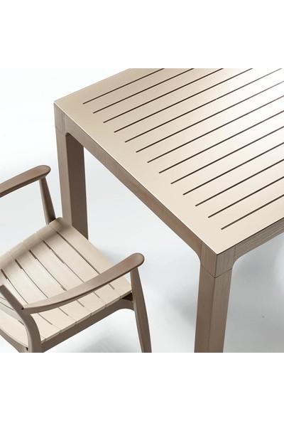 Novussi Regnum Bahçe Seti - 6 Sandalye + 1 Camlı Masa Takımı Çöl Kahvesi/kappuçino