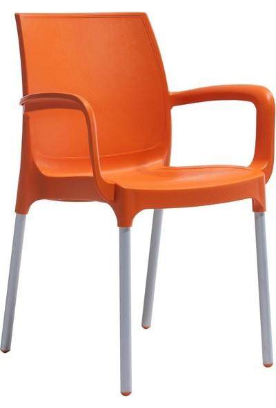Novussi Sunset Balkon Bahçe Sandalyesi Mobilyası Turuncu