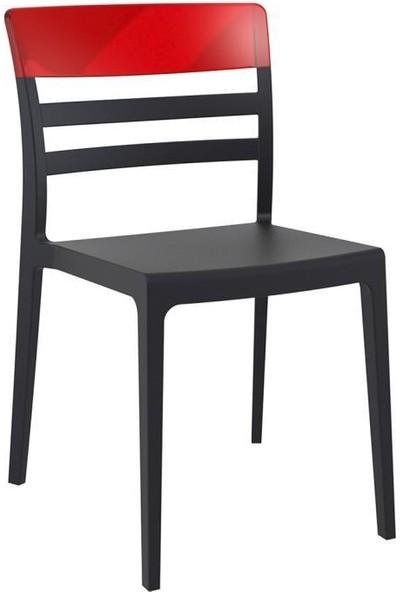 Siesta Moon Iç ve Dış Mekan Sandalyesi Siyah - Kırmızı