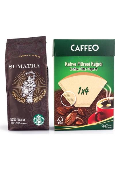 Starbucks Sumatra 250 gr Filtre Kahve ve Caffeo Filtre Kahve Kağıdı 1x4 80 Li