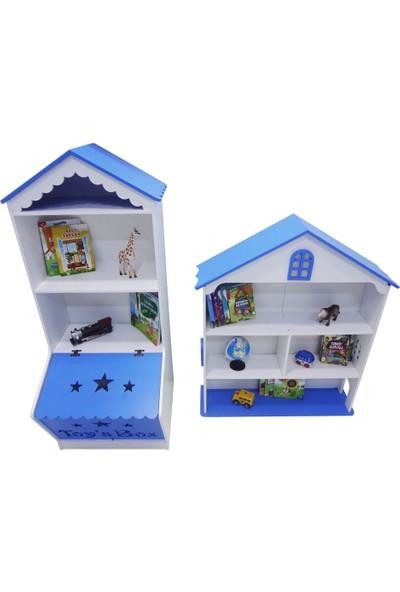 Montesev Çocuk Bebek Oyun Evi Dolabı Oyun Kutusu Çocuk Kitaplık Raf Ahşap Montessori