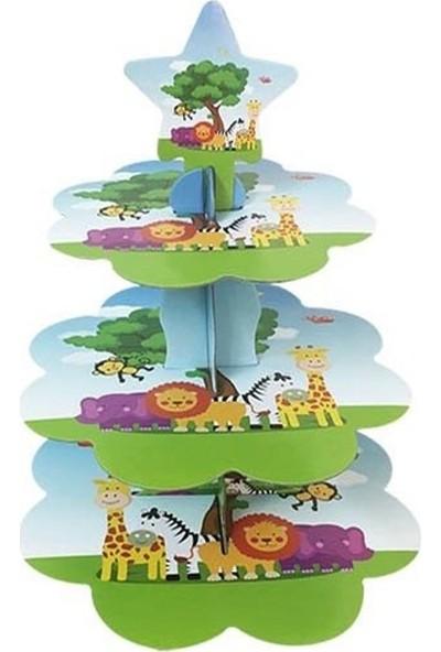 Tuğra Neşeli Hayvanlar Cup Cake Standı 3 Katlı