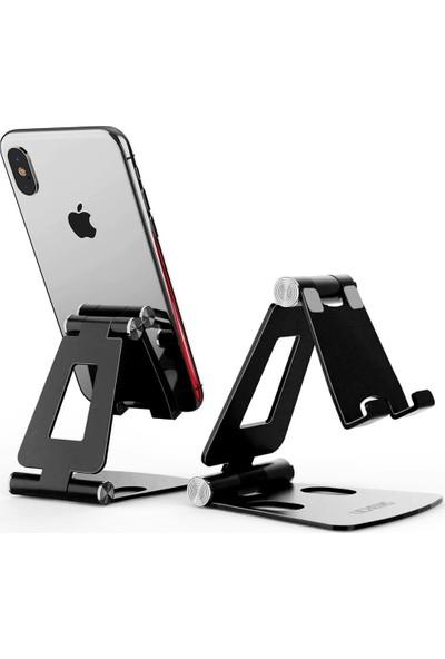 Wlue Masaüstü Metal Tablet ve Telefon Tutucu Stand Katlanabilir 270° Hareketli Siyah