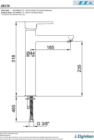 ECA Delta Yüksek Tip Lavabo Bataryası