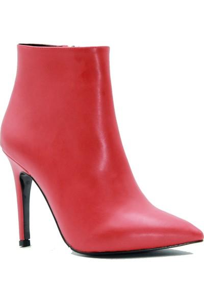 Park Moda Kadın Bot 221-1019 Kırmızı Cilt