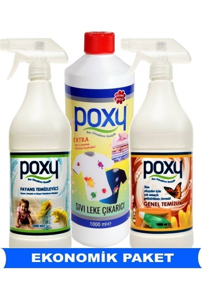 Poxy Genel Temizlik, Sıvı Leke Çıkarıcı, Fayans Temizleyici Set
