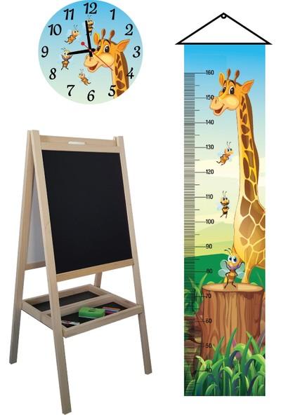 Makeart Baby Ahşap Yazı Tahtası + Duvar Saati + Boy Ölçer + Kalem +Silgi