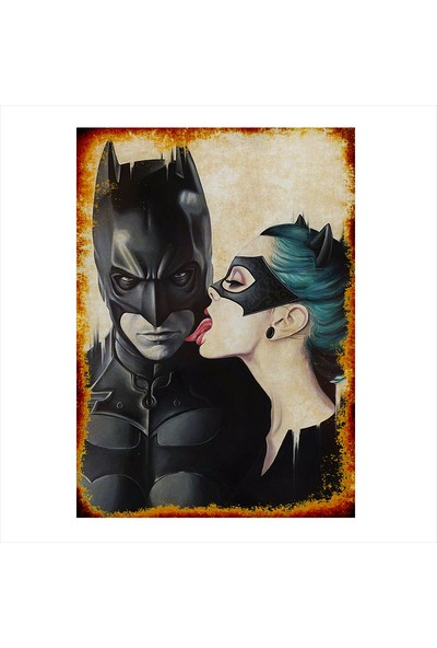 Tablomega Batman Ve Kedi Kadın Dekoratif Mdf Tablo