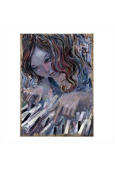 Tablomega Piyano Ve Kız Çocuğu Dekoratif Mdf Tablo