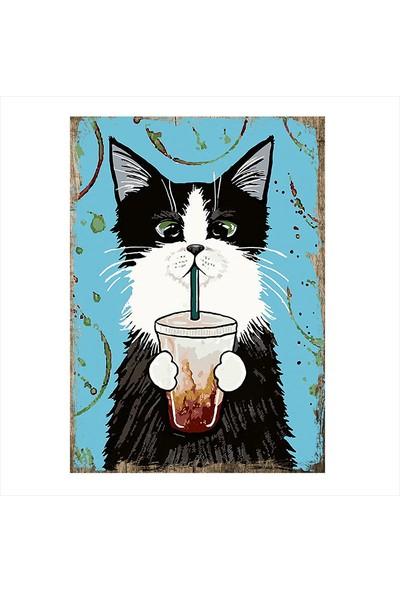 Tablomega Süt İçen Kedi Dekoratif Mdf Tablo