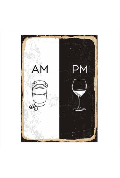 Tablomega Gündüz Kahve Gece Şarap Mdf poster