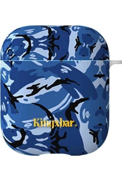 Kingxbar Apple Airpods j Desenli Silikon Koruyucu Kılıf - Mavi