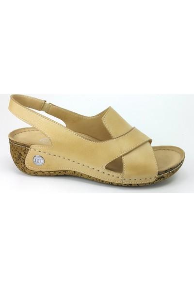 Mammamia 1025 Günlük Kadın Sandalet - Bej Kadın Sandalet