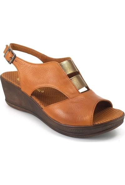 Mammamia 1455 Günlük Kadın Sandalet - Taba Kadın Sandalet