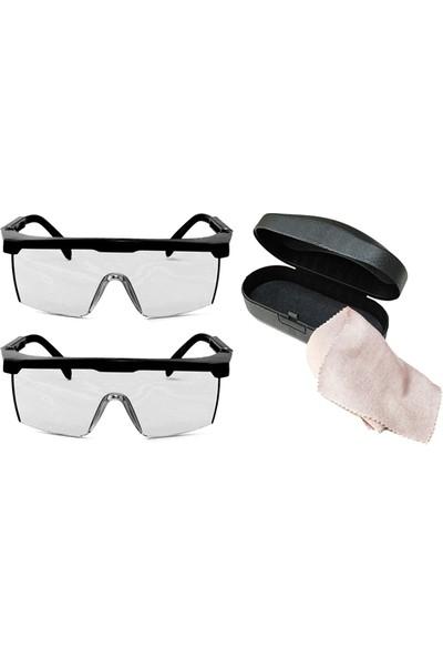 2 Adet Motosiklet Sürüş ve Koruma Gözlüğü Kutu + Bez