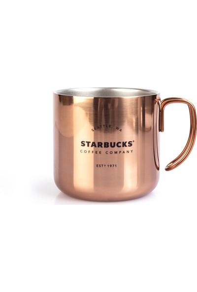 Starbucks Özel Tasarım Metal Bakır Renk Bardak Mug Kupa