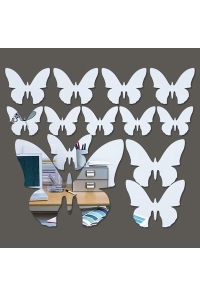 Dez Kelebekler Akrilik Duvar Aynası 13 Parça