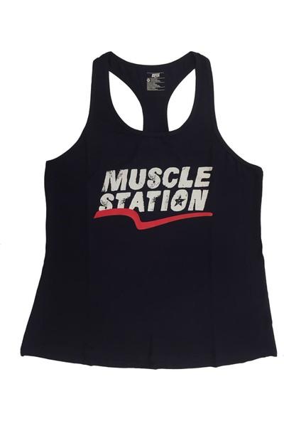 Musclestation Toughman Tank Lacivert Workout Fitness Atlet