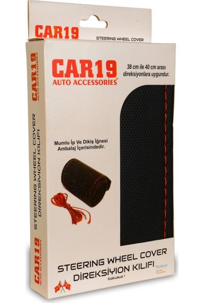 Car19 Direksiyon Kılıfı Dikmeli Deri Direksiyon Kılıfı Noktalı Kırmızı Dikişli