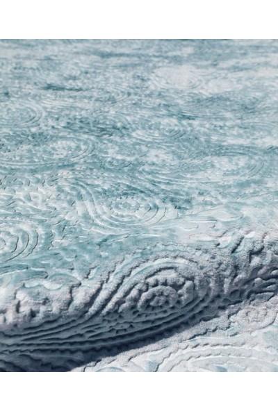 My Evilla Halı Kaymaz Taban Kesme Mavi Saçaklı Yolluk 200 x 300 cm