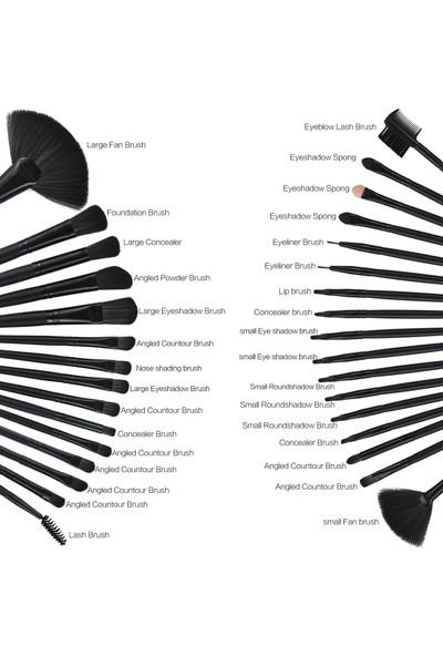 Hannah Siyah 32 Parça Deri Çantasında Makyaj Fırça Seti
