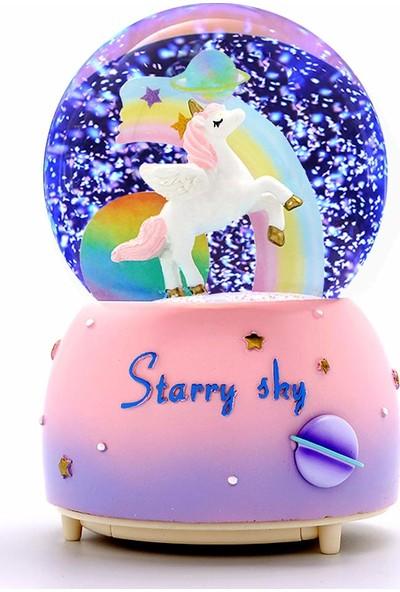 Wepools Unicorn Işıklı Müzikli Kar Motorlu Kar Küresi Büyük Boy