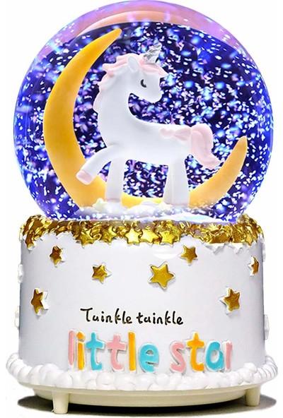 Wepools Unicorn Tasarımlı Işıklı Müzikli Kar Motorlu Büyük Boy Kar Küresi