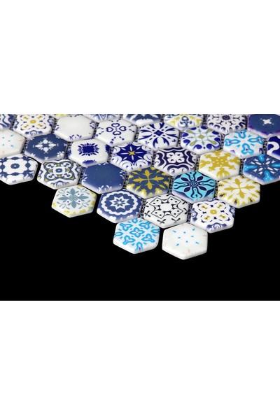 Livea Hexagon 38 X 38 Desenli Cam Mozaik Mat DJ47 ( M2)
