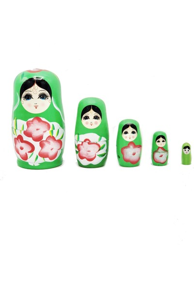 Dünyadan Hediyeler Ahşap Matruşka Bebek 5 li Set Yeşil No.2