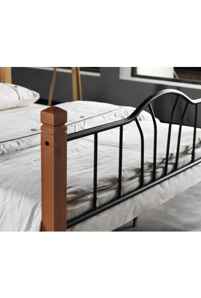 Argimo Pastel Ahşap Dikeç Başlıklı Çift Kişilik Yatak Odası Metal Karyola 140 x 190