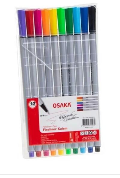 Osaka Fineliner Pen Renkli Keçeli Kalem Set 0.4 mm 10'lu