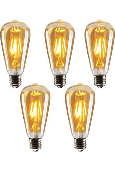 Edison ST64 Flamanlı 6 W Rustik LED Ampul Dekoratif Vintage Aydınlatma Gün Işığı 5'li