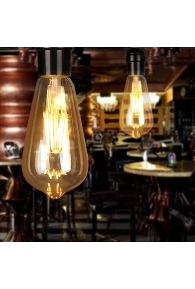 Edison ST64 Flamanlı 6 W Rustik LED Ampul Dekoratif Vintage Aydınlatma Gün Işığı 3'lü