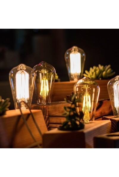 Edison ST64 Flamanlı 6 W Rustik LED Ampul Dekoratif Vintage Aydınlatma Gün Işığı 10'lu