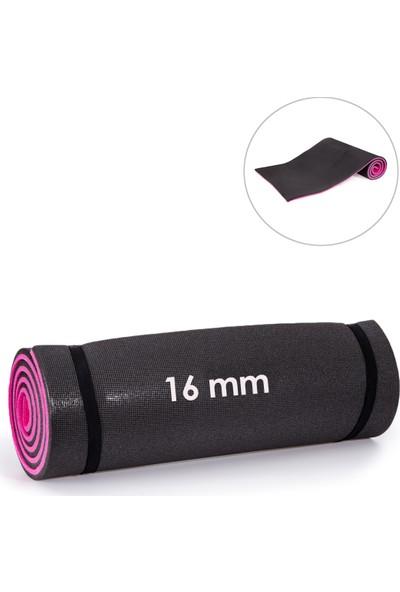 Sportif 16 mm Çift Yönlü Siyah-Pembe Pilates ve Yoga Minderi Mnd-79