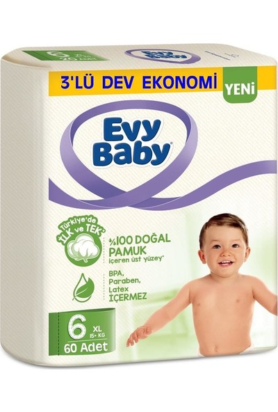 Evy Baby Bebek Bezi Xl 6 Beden 15 kg 60'lı