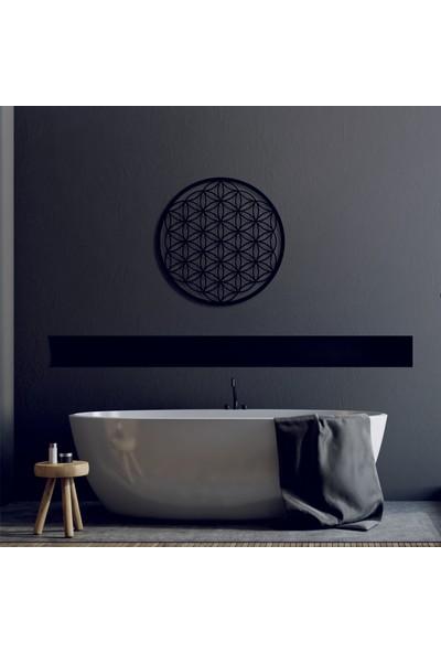 Kara Koç Eğitim Araçları Ahşap Yaşam Çiçeği Kutsal Geometri Dekoratif Tablo