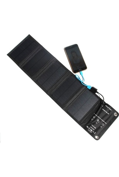 Vision Hızlı Şarj Katlanabilir 5 Panelli Solar Şarj Cihazı 15W 2.4A