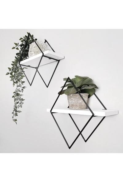 Orenc Craft Elmas Raf Ahşap Metal Beyaz - Siyah