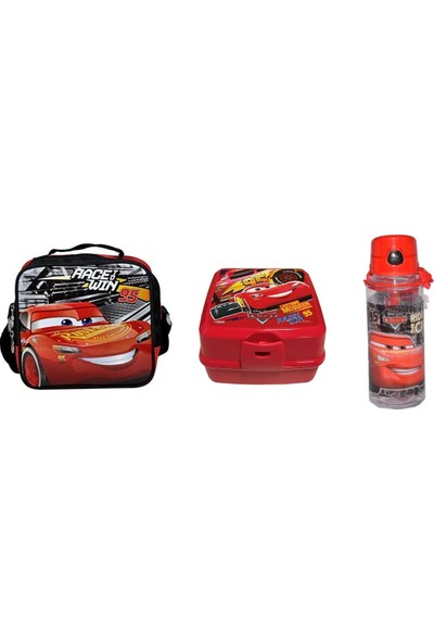 Hakan Çanta Cars Beslenme Çantası + Beslenme Kabı + Şeffaf Matara Suluk 500 ml + Magnetli Resim Çerçevesi